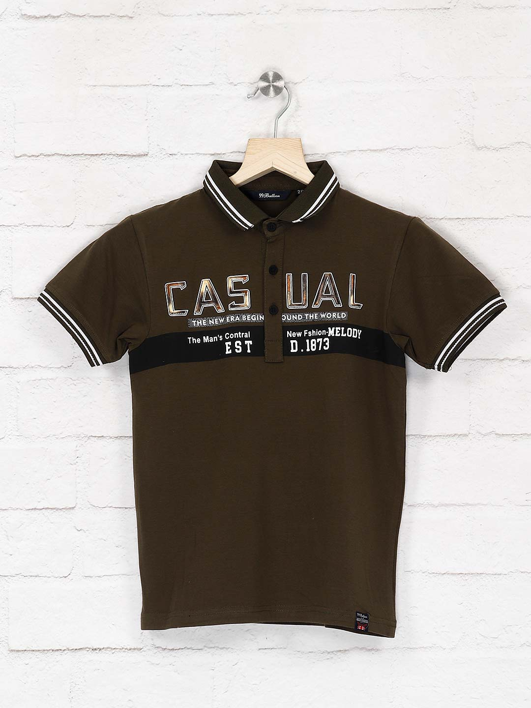 99 Balloon olive color polo neck t-shirt?imgeng=w_400