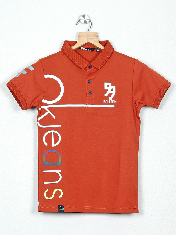 99 Balloon rust orange printed polo t-shirt?imgeng=w_400