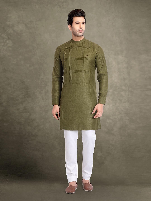 Olive cotton checks design kurta suit?imgeng=w_400