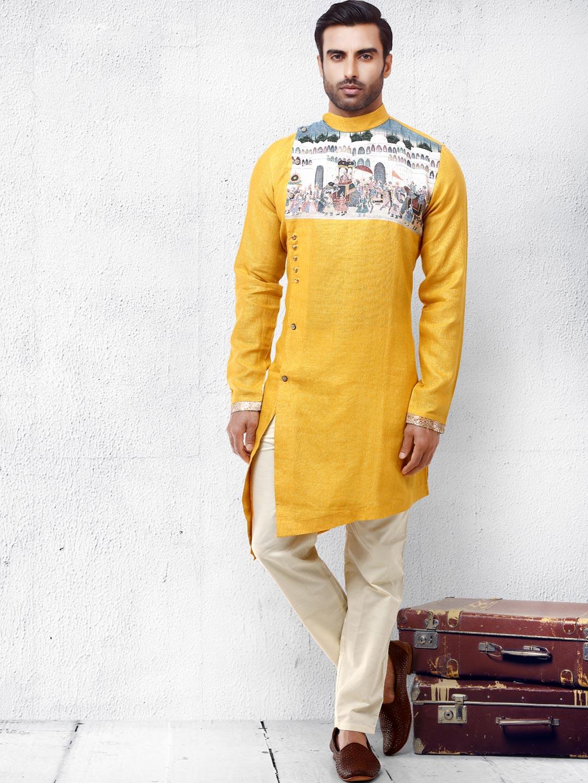 Yellow cotton silk bandhgala kurta suit?imgeng=w_400