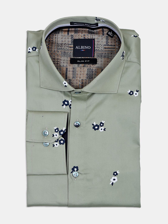 Albino printed cotton green formal shirt?imgeng=w_400