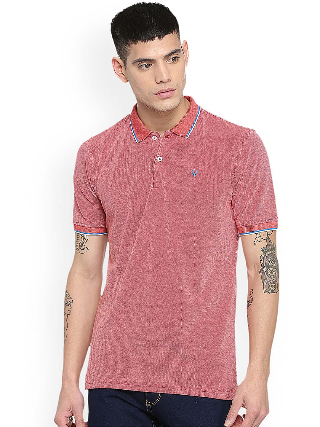 Allen Solly pink solid polo t-shirt?imgeng=w_400