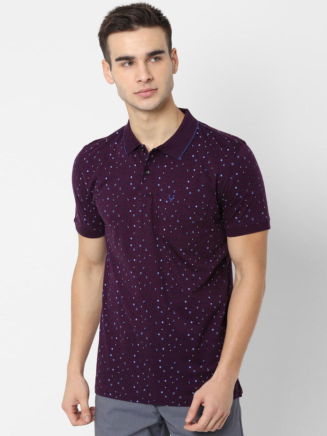 Allen Solly purple printed patch pocket t-shirt?imgeng=w_400