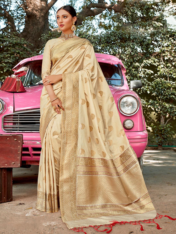 Amazing cream colored semi silk wedding wear saree?imgeng=w_400