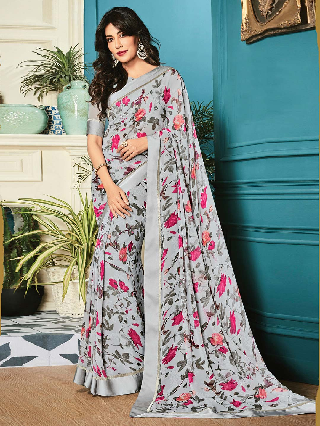 Amazing grey printed georgette saree for festive?imgeng=w_400