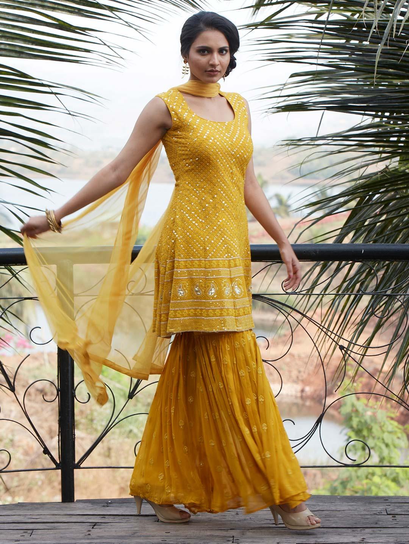 Amazing yellow georgette punjabi style wedding wear sharara suit?imgeng=w_400
