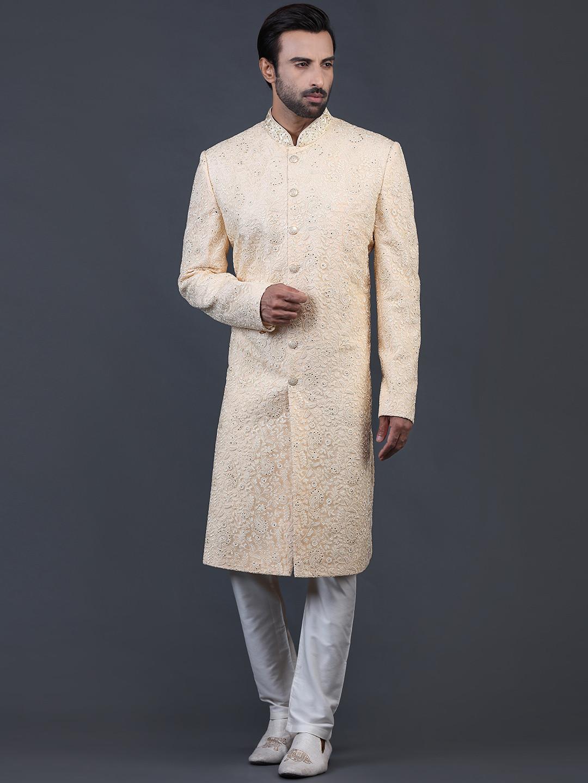 Amazing yellow net sherwani for wedding?imgeng=w_400