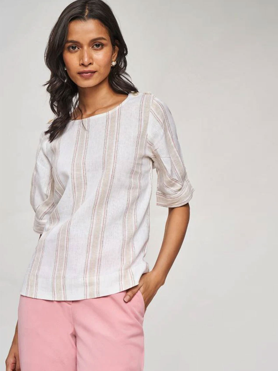 AND Beige Striped A-Line Top?imgeng=w_400