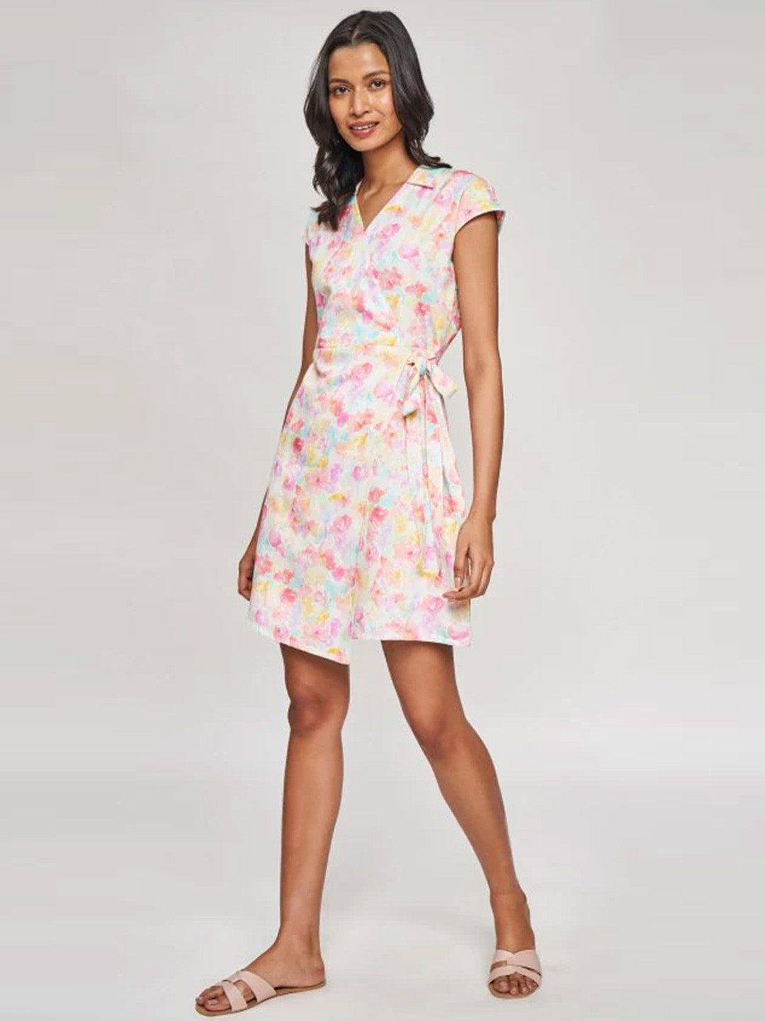 AND Multi Color Floral Printed Fit And Flare Dress?imgeng=w_400