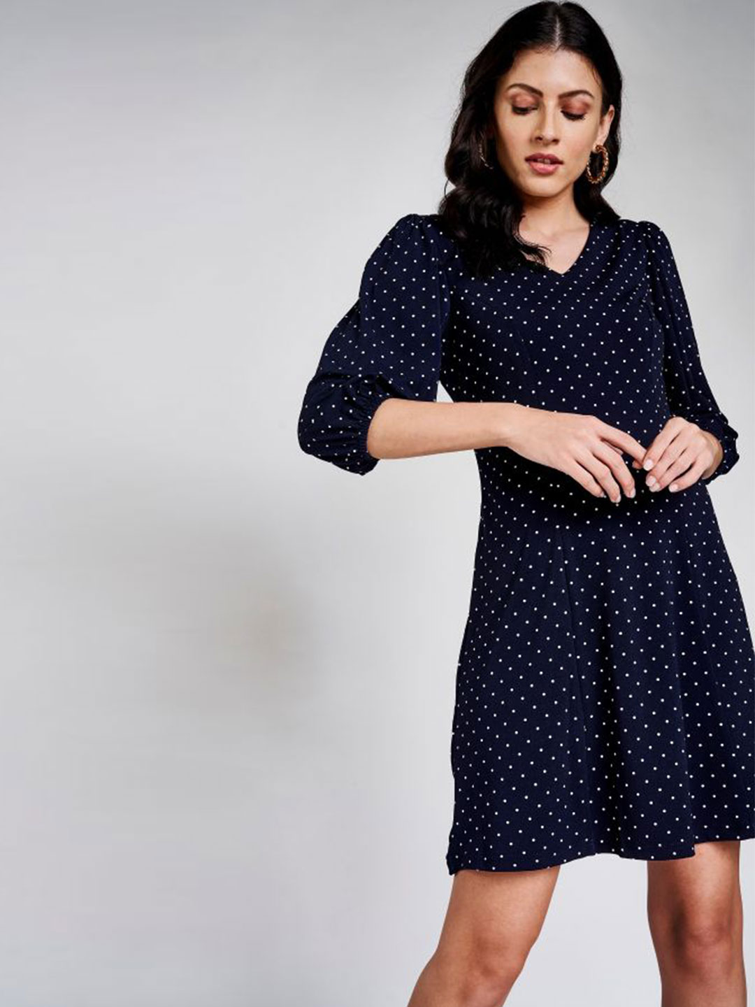 AND Navy Blue Polka Dots Printed A-Line Dress?imgeng=w_400