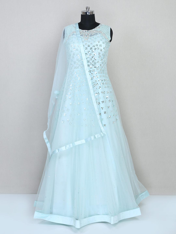 Aqua gown for women in net for wedding?imgeng=w_400