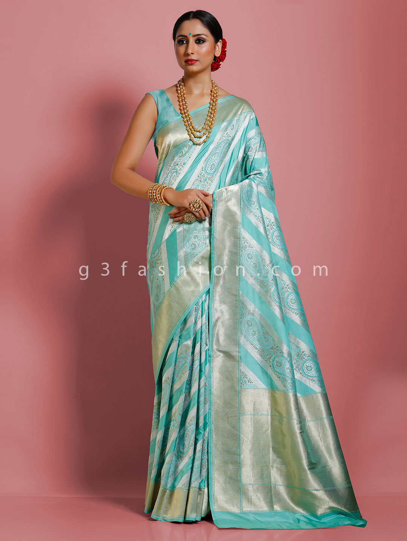 Aqua pure banarasi silk saree in wedding days?imgeng=w_400