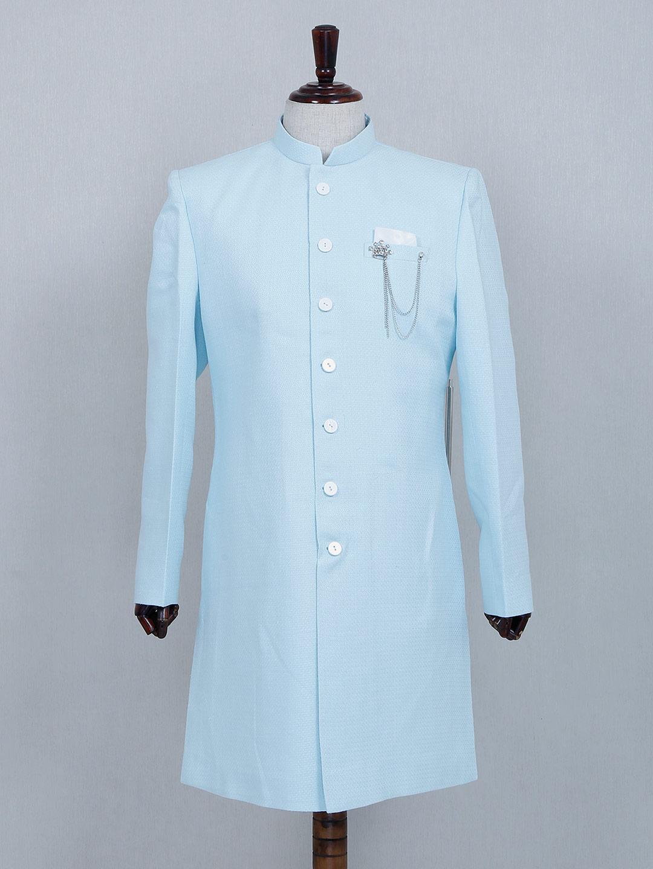 Asthetic sky blue silk sherwani set?imgeng=w_400