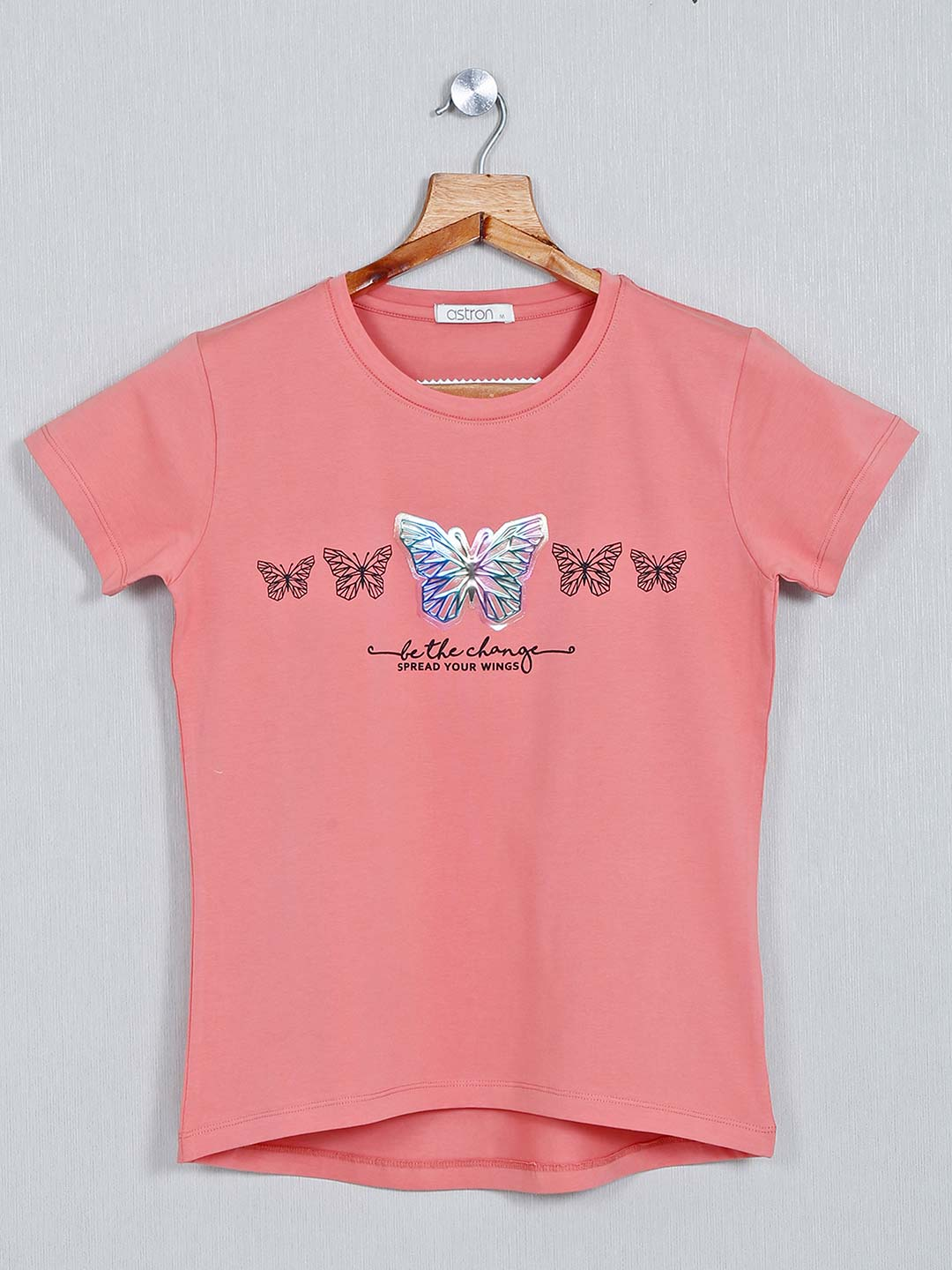 Astron Printed cotton peach casual top for women?imgeng=w_400