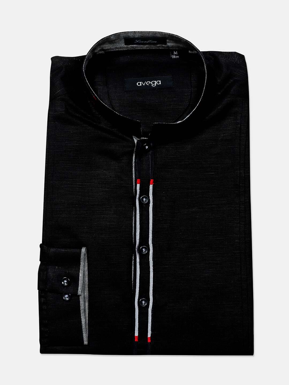 Avega black cotton cut away collar shirt?imgeng=w_400