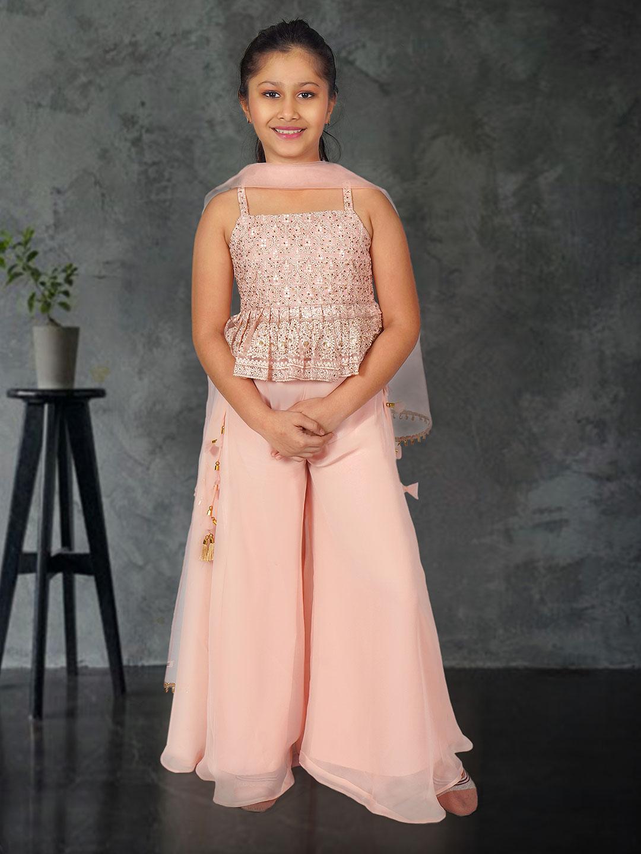 Baby pink georgette punjabi palazzo suit for girls?imgeng=w_400