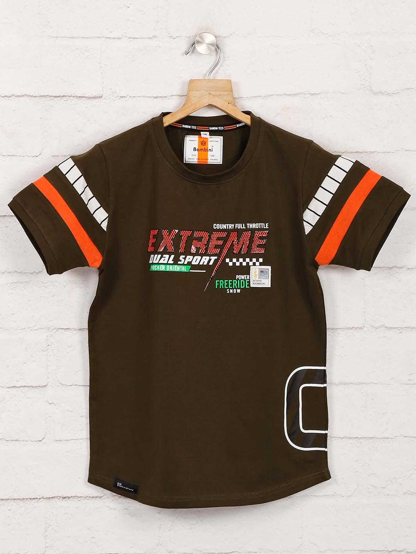 Bambini dark olive printed t-shirt?imgeng=w_400