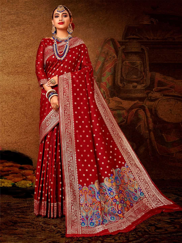 Banarasi silk wedding wear saree in maroon?imgeng=w_400