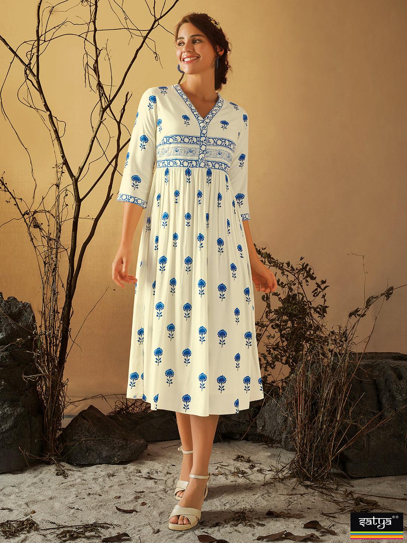 Beautiful cotton printed casual wear kurti in cream?imgeng=w_400