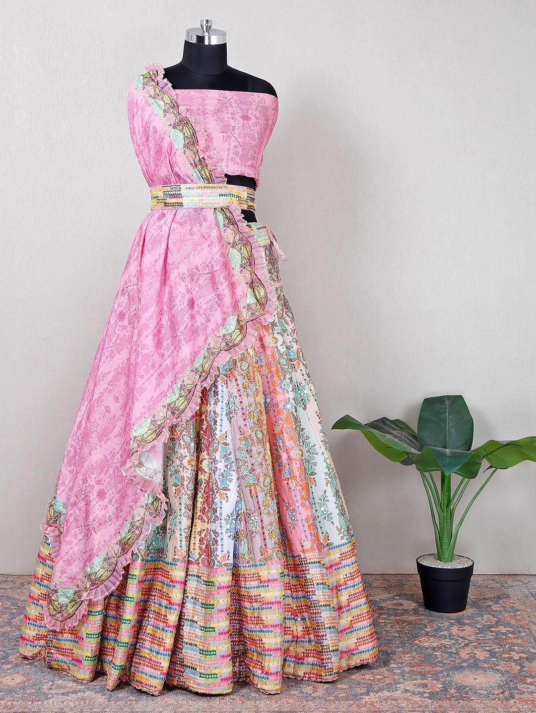 Beautiful cotton silk wedding wear unstitched printed lehenga choli?imgeng=w_400