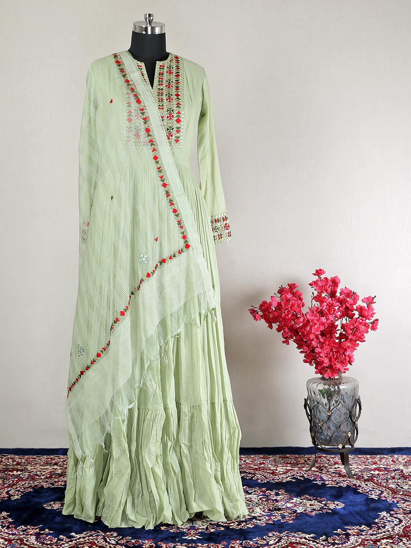 Beautiful pista green party wear cotton gown?imgeng=w_400