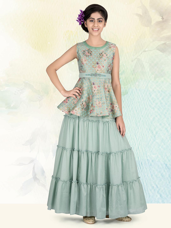 Beautiful pista green silk lehenga choli for girls?imgeng=w_400