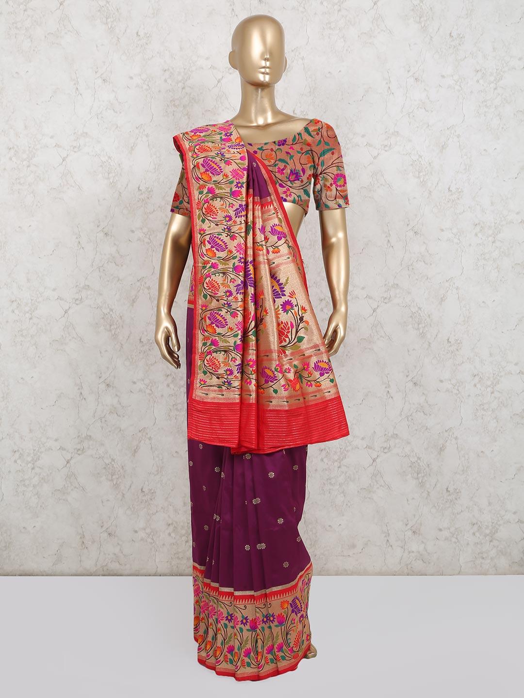 Beautiful wine colored banarasi silk saree?imgeng=w_400