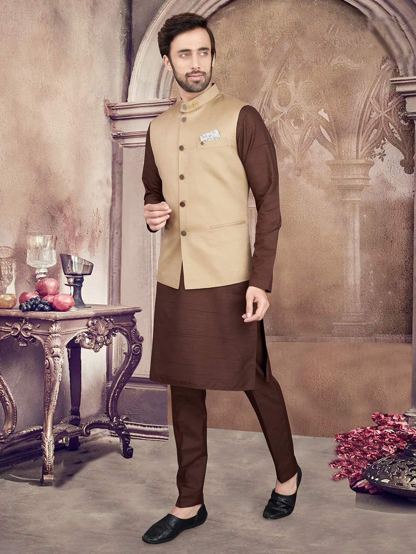 Beige and brown cotton silk waistcoat set party wear?imgeng=w_400