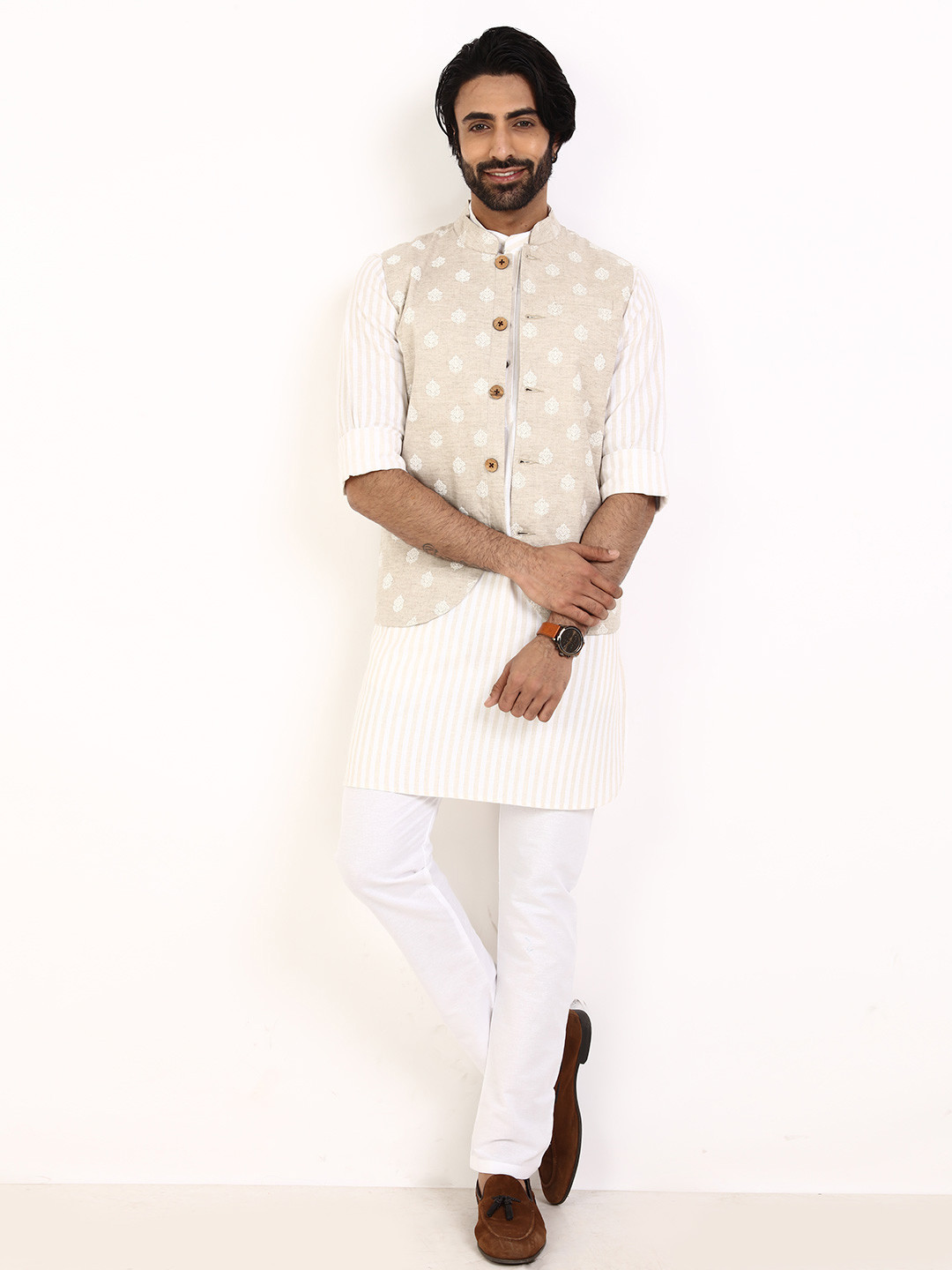 Beige and cream thread waistcoat set for party?imgeng=w_400