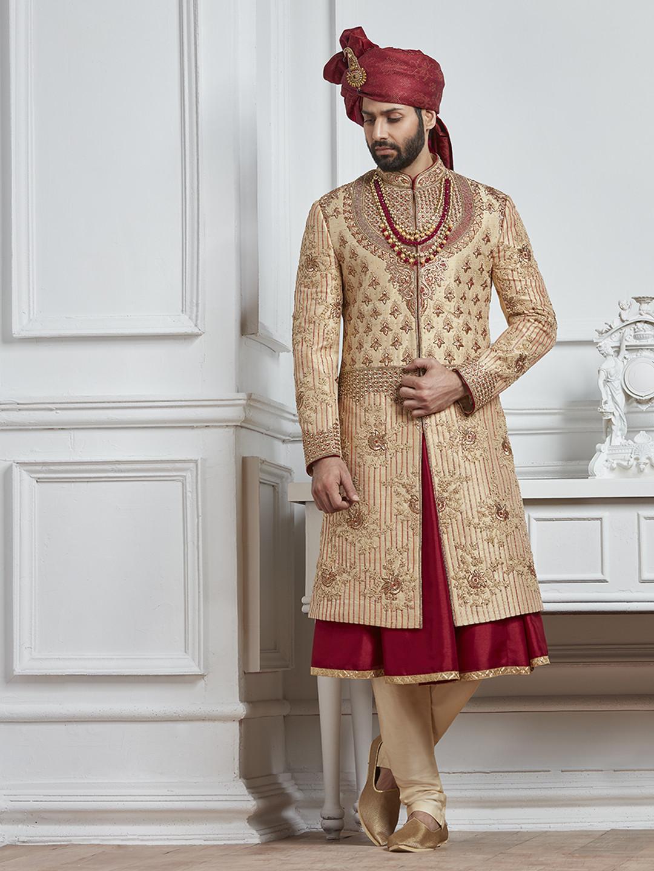 Beige and maroon color silk sherwani?imgeng=w_400