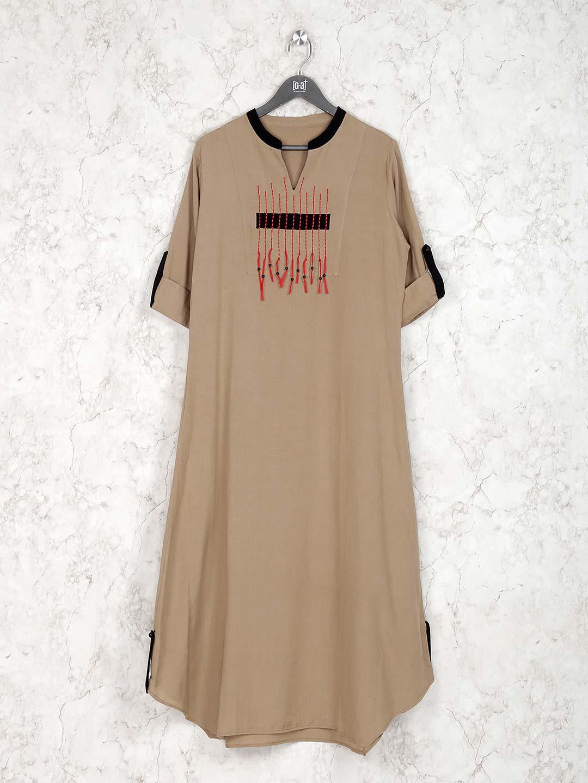 Beige color cotton fabric casual kurti?imgeng=w_400