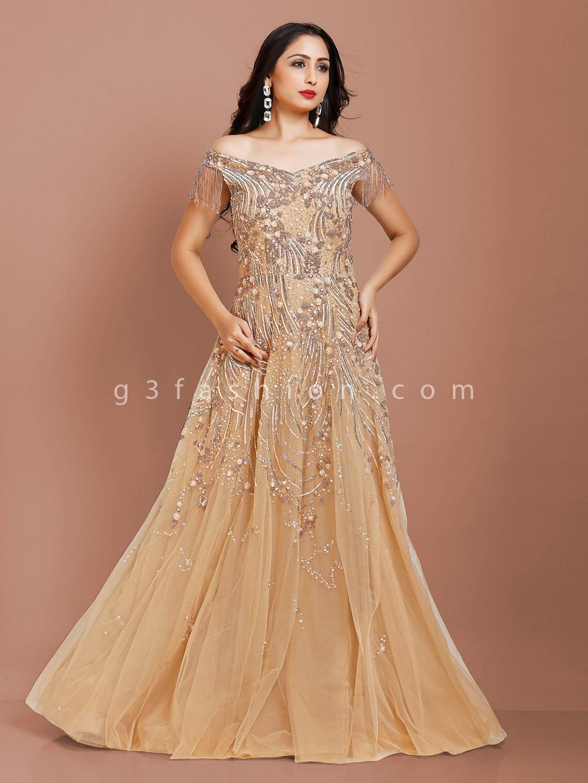 Beige color net fabric party wear gown?imgeng=w_400