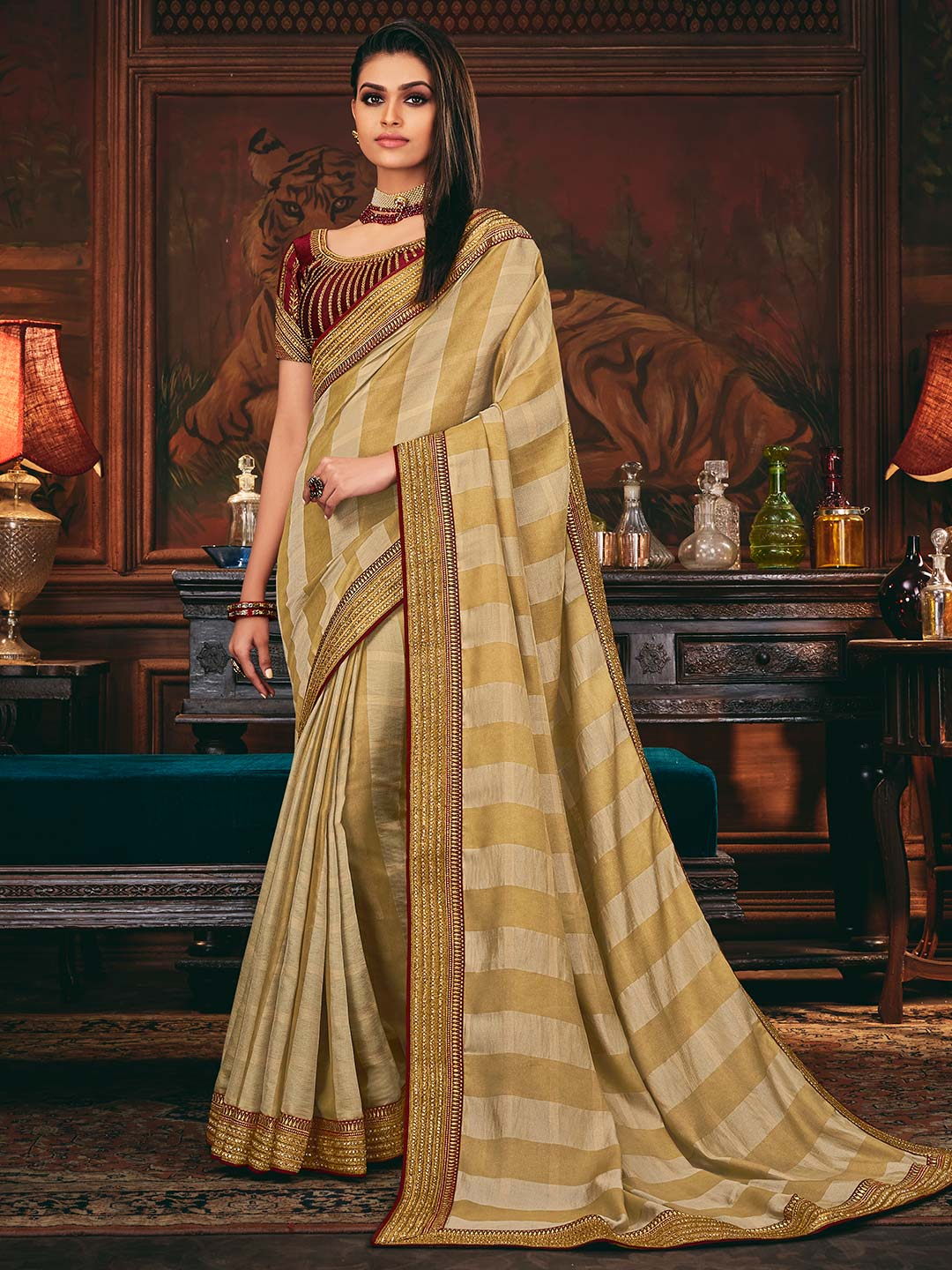 Beige colored silk saree for festive look?imgeng=w_400