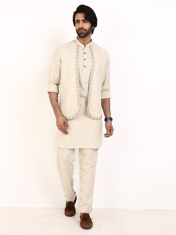 Beige cotton linen waistcoat set for mens?imgeng=w_400
