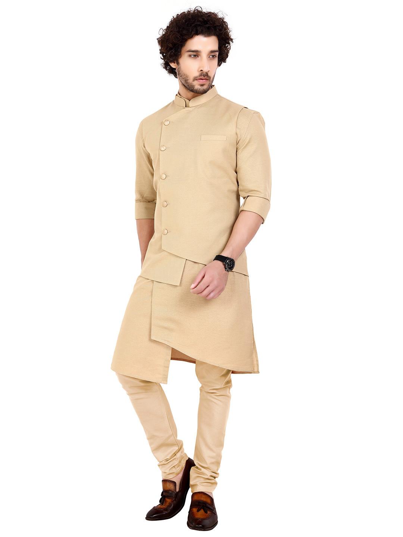 Beige cotton party wear waistcoat set?imgeng=w_400