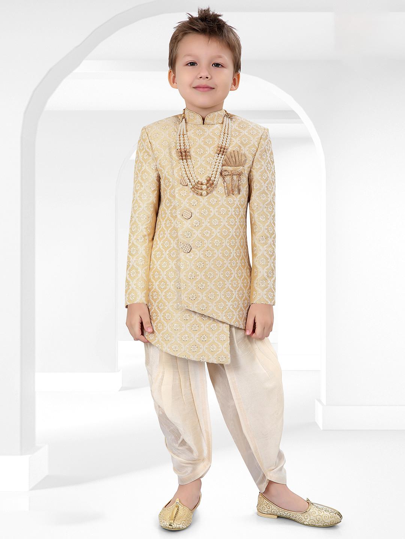 Beige cotton silk indo western for boys?imgeng=w_400