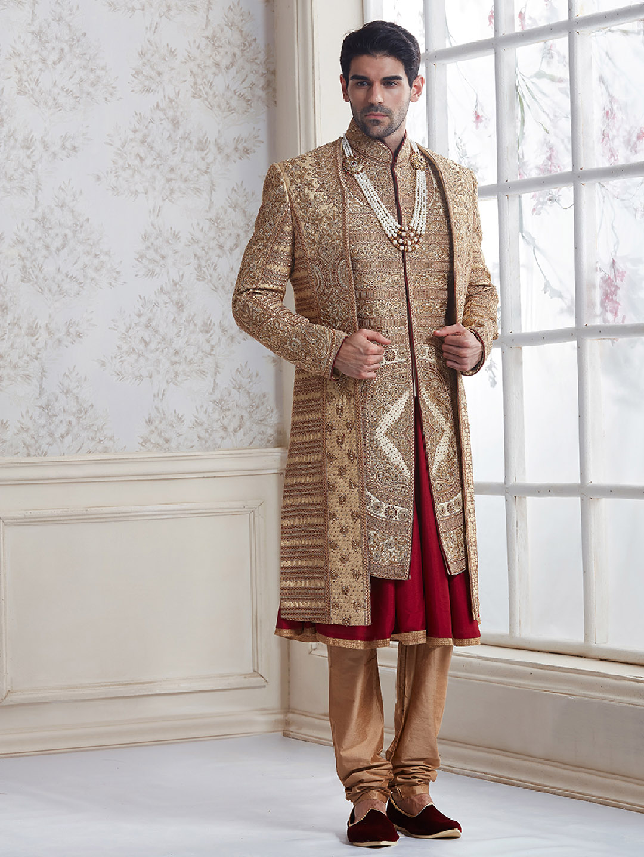 Beige designer silk wedding wear sherwani?imgeng=w_400