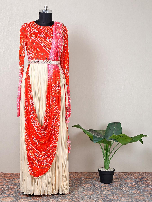 Beige georgette printed party wear gown?imgeng=w_400