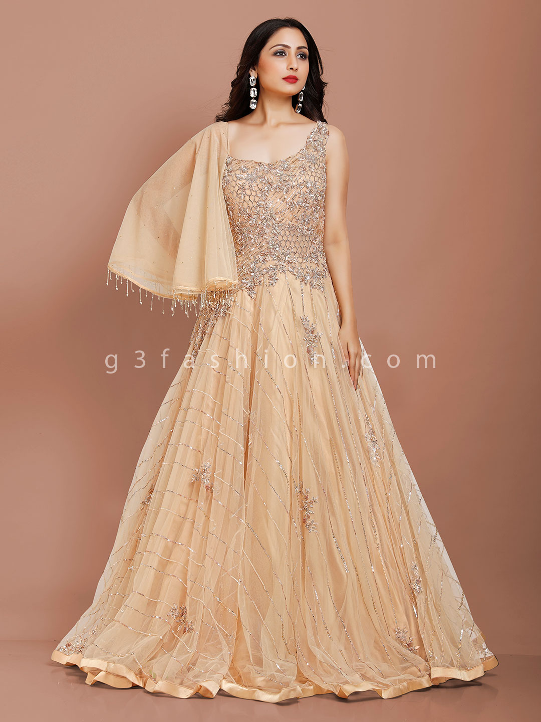 Beige net party occasion designer gown?imgeng=w_400