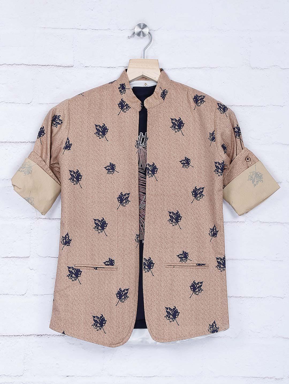 Beige hue printed chinese collar blazer?imgeng=w_400