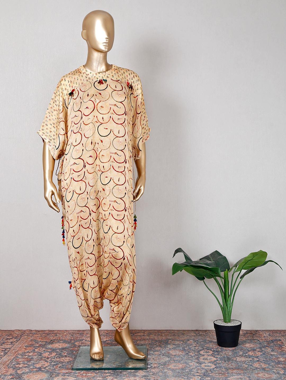 Beige printed georgette festive wear indowestern suit?imgeng=w_400