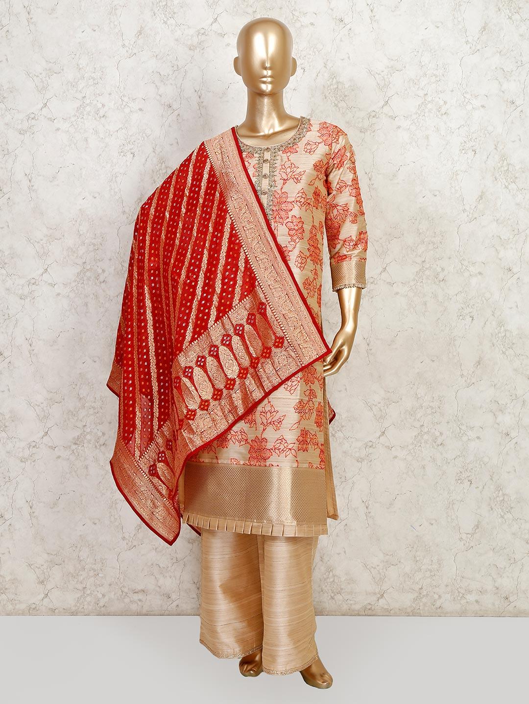 Beige raw silk festive wear palazzo suit?imgeng=w_400