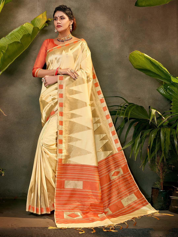 Beige silk party function saree?imgeng=w_400