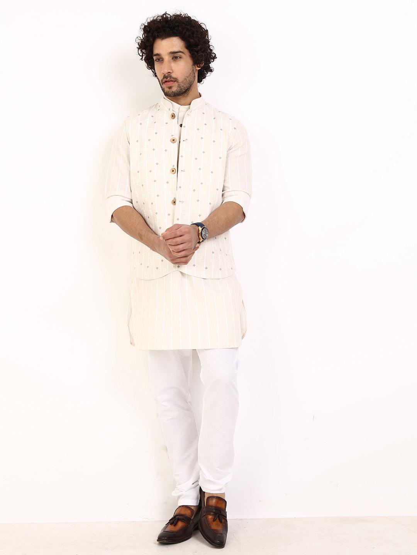 Beige stripe cotton linen waistcoat set?imgeng=w_400