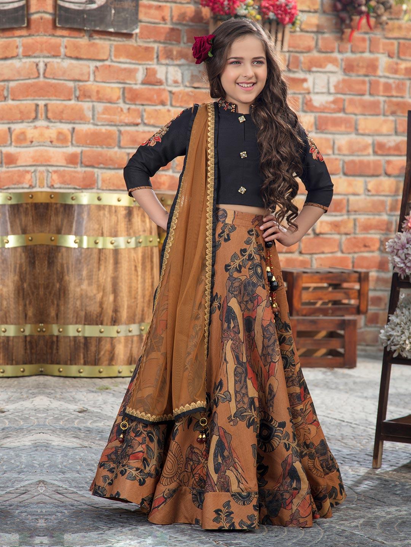 black and brown party wear girls lehenga choli?imgeng=w_400