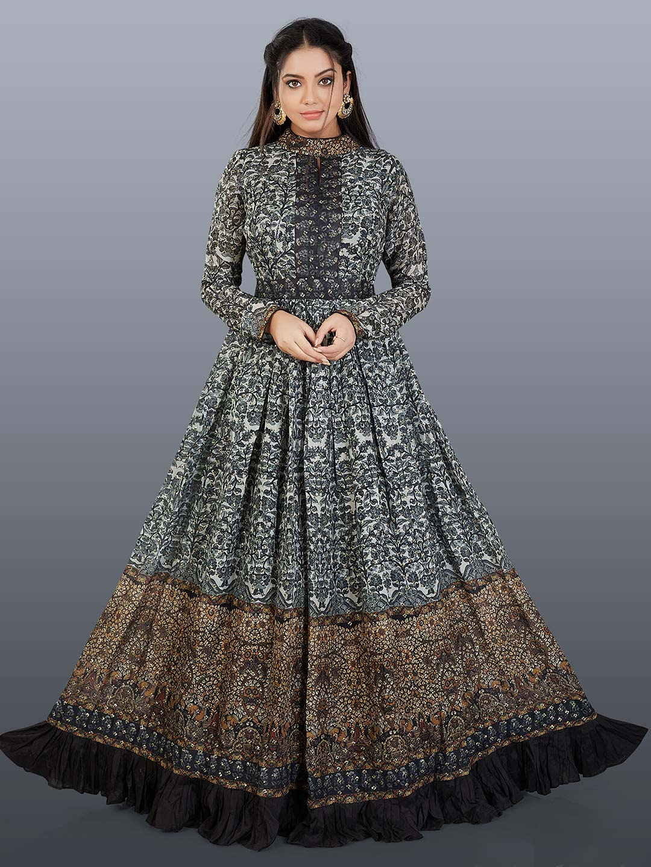 Black and white printed floor length bandhgala anarkali suit?imgeng=w_400