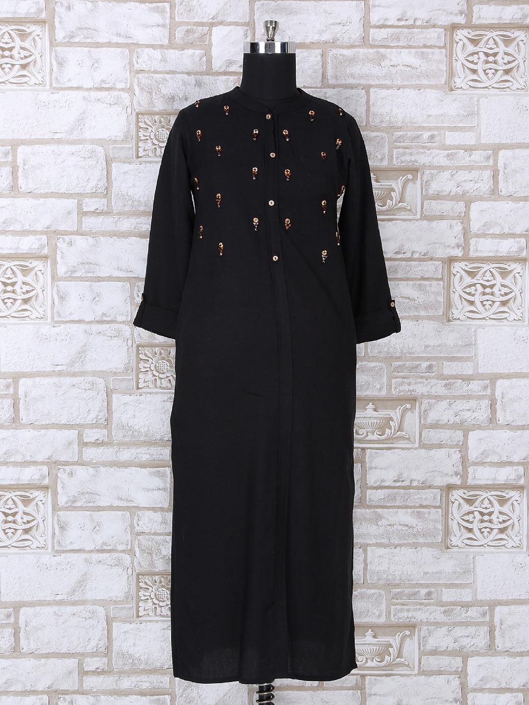 Black color cotton casual kurti?imgeng=w_400