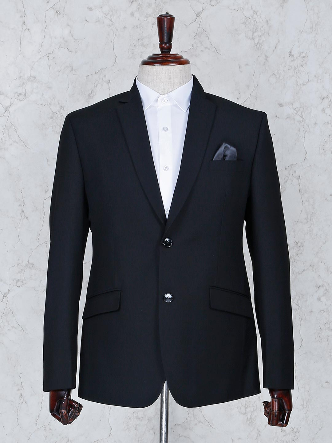 Black color solid terry rayon fabric blazer?imgeng=w_400