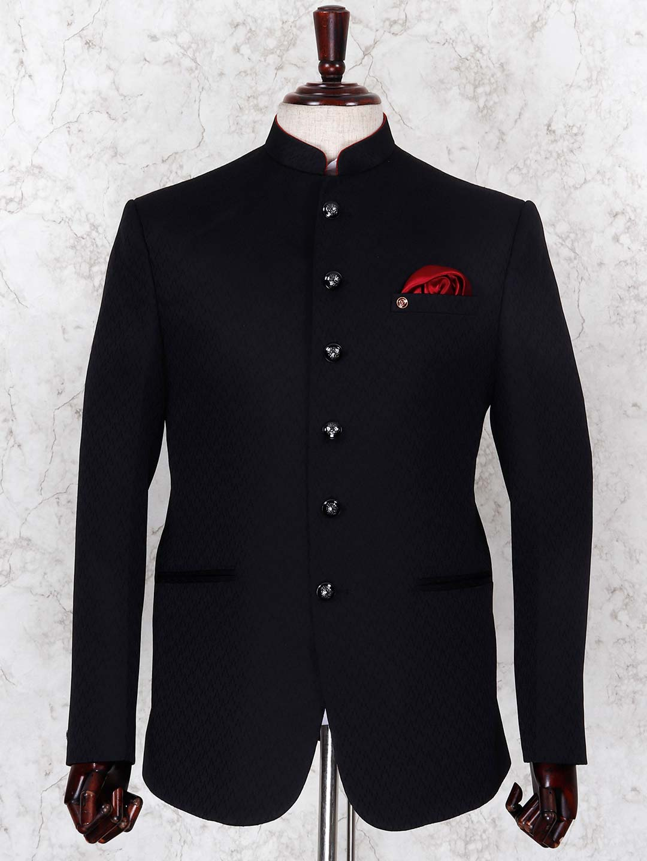 Black color textured pattern jodhpuri blazer?imgeng=w_400
