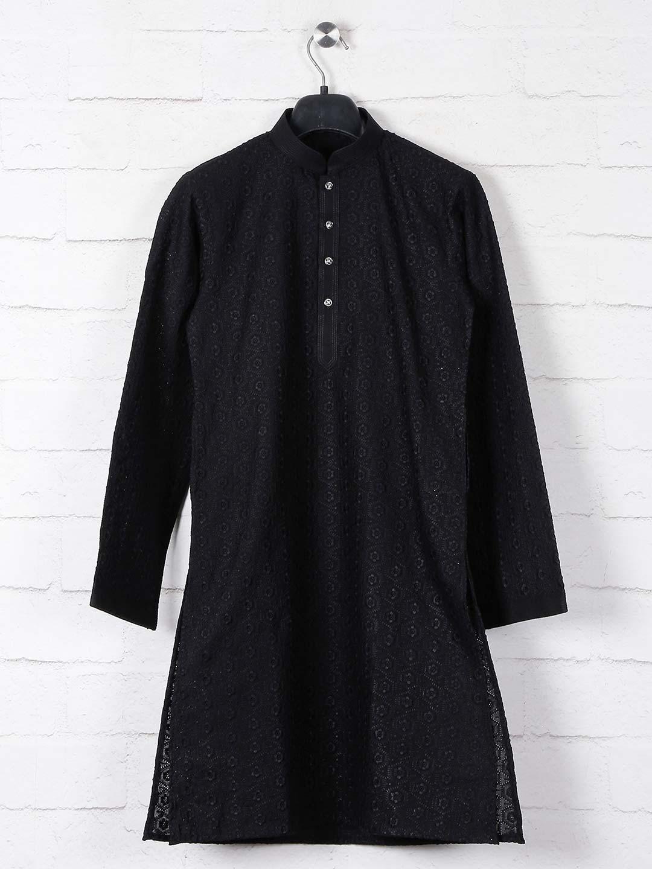 Black cotton kurta suit with lucknowi thread work?imgeng=w_400